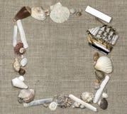 Marco marino con la nave, squarish Fotos de archivo libres de regalías