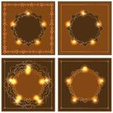 Marco marrón anaranjado del oro de la estrella Fotos de archivo