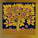 Marco medieval del vector del bordado de Goldwork Ruby Stone stock de ilustración