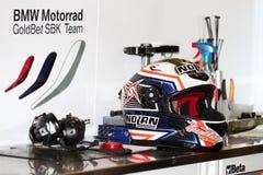 Marco Melandri #33 helmet with BMW Motorrad GoldBet SBK Team Superbike WSBK Royalty Free Stock Images