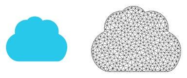 Marco Mesh Cloud del alambre del vector e icono plano ilustración del vector