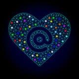 Marco Mesh Dating Heart Address del alambre del vector con los puntos que brillan intensamente para Chistmas ilustración del vector