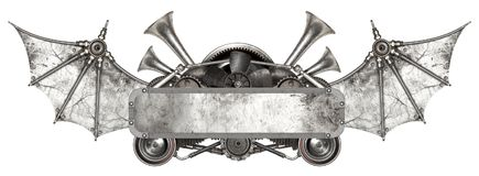 Marco metálico de Steampunk y coche auto viejo de los recambios foto de archivo