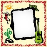 Marco mexicano de la fiesta con el sombrero, el cactus, el chile y la guitarra Foto de archivo libre de regalías