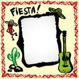 Marco mexicano de la fiesta con el sombrero, el cactus, el chile y la guitarra Fotografía de archivo libre de regalías