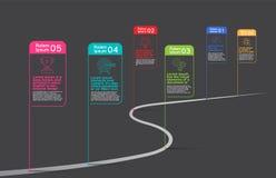 Marco miliário Empresa, vetor de Infographic, molde do projeto do oadmap, ilustração stock