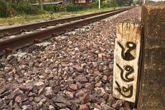 Marco miliário railway de madeira número 488 Imagens de Stock
