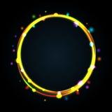 Marco multicolor del círculo que brilla intensamente con las chispas. Fotografía de archivo libre de regalías