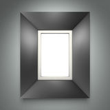 Marco negro en la pared gris imagen de archivo