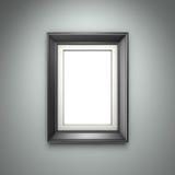 Marco negro en la pared gris fotografía de archivo libre de regalías