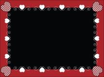 Marco o etiqueta de la tarjeta del día de San Valentín con los corazones de la guinga Fotos de archivo