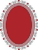 Marco o etiqueta oval de la tarjeta del día de San Valentín con el ajuste de la guinga Foto de archivo