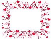 Marco o frontera decorativo de los corazones de la tarjeta del día de San Valentín Fotografía de archivo libre de regalías