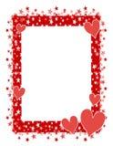 Marco o frontera rojo 2 de las estrellas de los corazones ilustración del vector