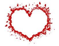 Marco o frontera rojo del corazón de Grunge de la tarjeta del día de San Valentín Imagenes de archivo