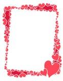 Marco o frontera rosado de los corazones de la tarjeta del día de San Valentín Imagen de archivo libre de regalías