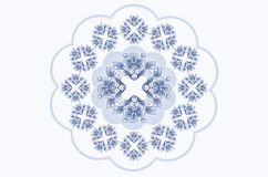 Marco ondulado azulado para el bordado de la servilleta con los ornamentos de flores azules libre illustration