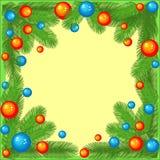 Marco original para las fotos y el texto Las ramas de un árbol de navidad adornado con las bolas brillantes crean un humor festiv libre illustration
