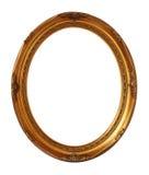 Marco oval aislado, trayectoria de la foto del vintage del oro de recortes Imagen de archivo libre de regalías