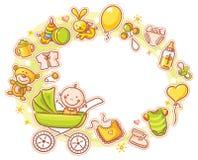 Marco oval con el bebé de la historieta