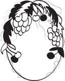 Marco oval con la uva y la cereza. Fotos de archivo libres de regalías
