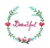 Marco oval de la acuarela de flores y de hojas Imagen de archivo