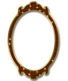Marco oval de la estrella de oro en el fondo blanco Fotografía de archivo libre de regalías