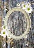 Marco oval de la vendimia en una pared de madera Fotografía de archivo