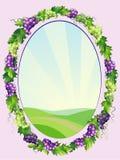 Marco oval decorativo de las uvas stock de ilustración