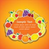 Marco oval del vector de las frutas Fotos de archivo libres de regalías