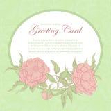 Marco oval del vector del vintage con las peonías rosadas Los brotes, las ramas y las hojas de flor en un fondo y un lugar verdes Imagen de archivo libre de regalías