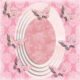 Marco oval descolorado de la mariposa Fotos de archivo libres de regalías