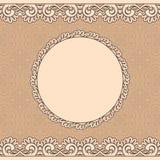 marco oval rojo del cordón de +EPS, fondo inconsútil stock de ilustración