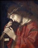 Marco Palmezzano: Gesù che porta l'incrocio Immagini Stock
