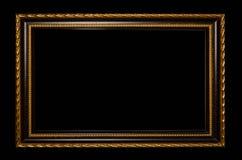 Marco para la pintura de madera o imagen en fondo negro Fotos de archivo