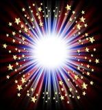 Marco patriótico de las estrellas fugaces Fotografía de archivo libre de regalías