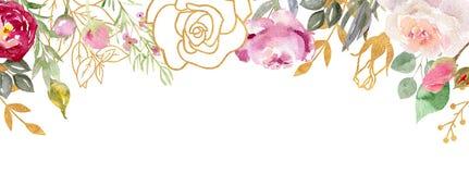 Marco pintado a mano de la acuarela con las flores florecientes ilustración del vector