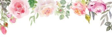 Marco pintado a mano de la acuarela con las flores florecientes libre illustration
