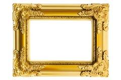 Marco plástico dorado Imagenes de archivo
