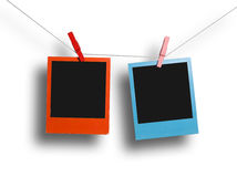 Marco polaroid rojo y azul Fotos de archivo libres de regalías