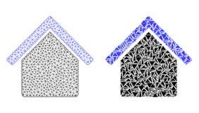 Marco poligonal Mesh House del alambre e icono del mosaico ilustración del vector