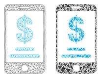 Marco poligonal Mesh Mobile Dollar Account del alambre e icono del mosaico ilustración del vector