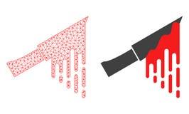 Marco poligonal rojo Mesh Bloody Knife del alambre e icono plano ilustración del vector