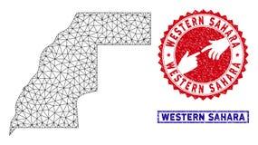 Marco poligonal sellos occidentales de Sahara Map del alambre y del Grunge stock de ilustración