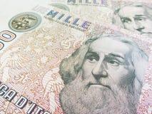 Marco Polo over een oude duizend Lires Italiaanse rekening Royalty-vrije Stock Afbeelding