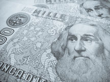 Marco Polo over an old one thousand Lire  Italian bill.  Stock Image