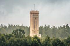 Marco principal de la mina en niebla Fotos de archivo