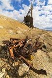 Marco principal minero del pueblo fantasma en el desierto de Nevada Foto de archivo libre de regalías