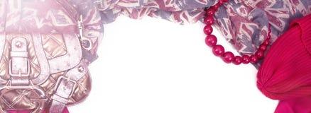 Marco que cubre decorativo de la bandera de la materia textil La bandera británica del modelo rojo de la bufanda de los accesorio Fotografía de archivo