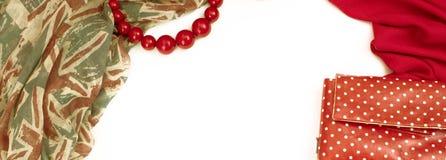 Marco que cubre decorativo de la bandera de la materia textil La bandera británica del modelo rojo de la bufanda de los accesorio Fotografía de archivo libre de regalías